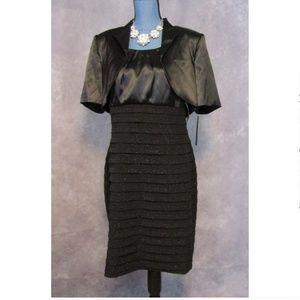 NWT R&M Richards Sparkle Black Dress w/ Bolero 12